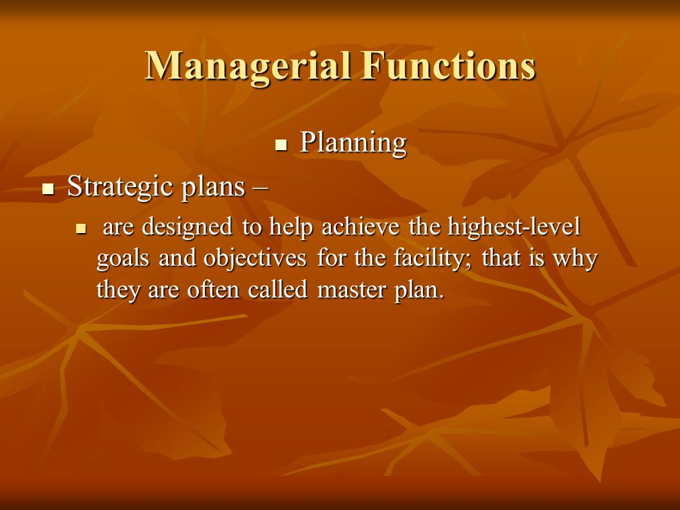 Managerial Functions Planning Planning Strategic plans – Strategic plans – are designed to help achieve the highest-level goals and objectives for the facility; that is why they are often called master plan.