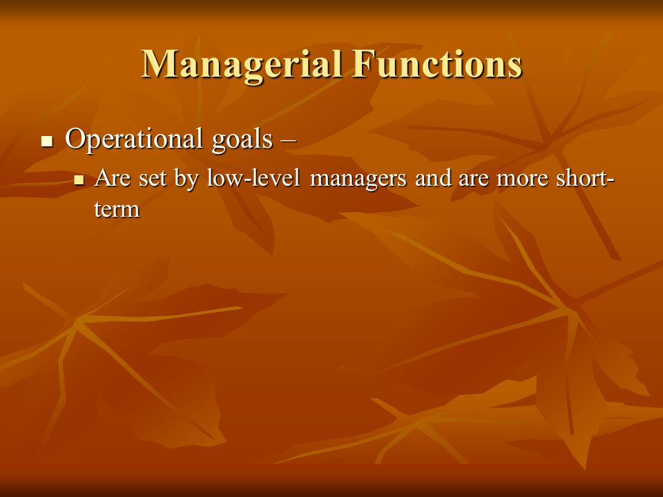 Managerial Functions Operational goals – Operational goals – Are set by low-level managers and are more short- term Are set by low-level managers and are more short- term
