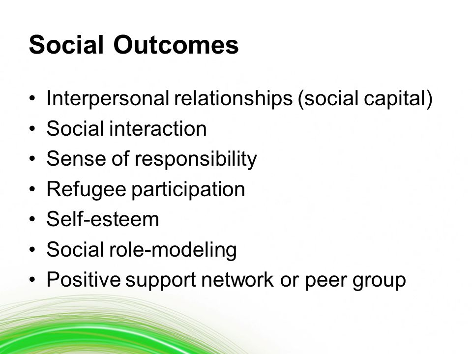 Social Outcomes Interpersonal relationships (social capital) Social interaction Sense of responsibility Refugee participation Self-esteem Social role-