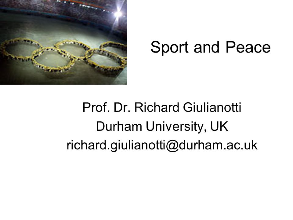Sport and Peace Prof. Dr.