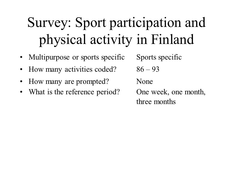 Survey: Sport participation and physical activity in Finland Multipurpose or sports specificSports specific How many activities coded 86 – 93 How many are prompted None What is the reference period One week, one month, three months