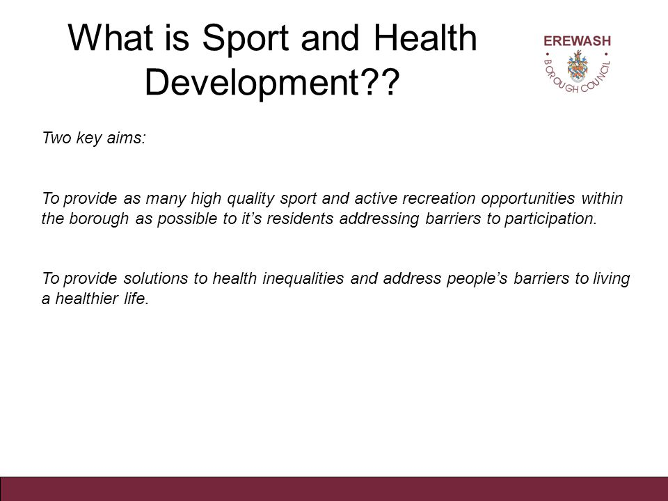 What is Sport and Health Development?.