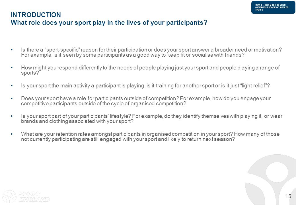 15 INTRODUCTION What role does your sport play in the lives of your participants? Is there a sport-specific reason for their participation or does you