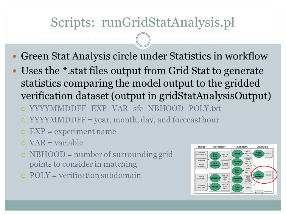 Scripts: runGridStatAnalysis.pl Green Stat Analysis circle under Statistics in workflow Uses the *.stat files output from Grid Stat to generate statistics comparing the model output to the gridded verification dataset (output in gridStatAnalysisOutput) YYYYMMDDFF_EXP_VAR_sfc_NBHOOD_POLY.txt YYYYMMDDFF = year, month, day, and forecast hour EXP = experiment name VAR = variable NBHOOD = number of surrounding grid points to consider in matching POLY = verification subdomain
