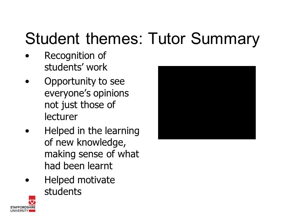 Student themes: Tutor Summary Recognition of students work Opportunity to see everyones opinions not just those of lecturer Helped in the learning of new knowledge, making sense of what had been learnt Helped motivate students