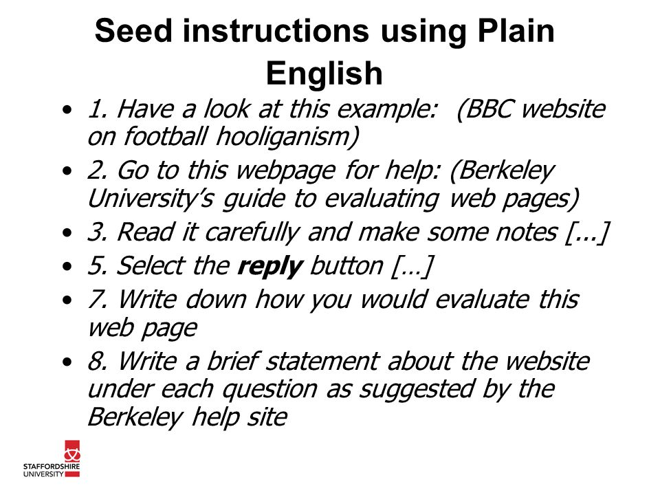 Seed instructions using Plain English 1.