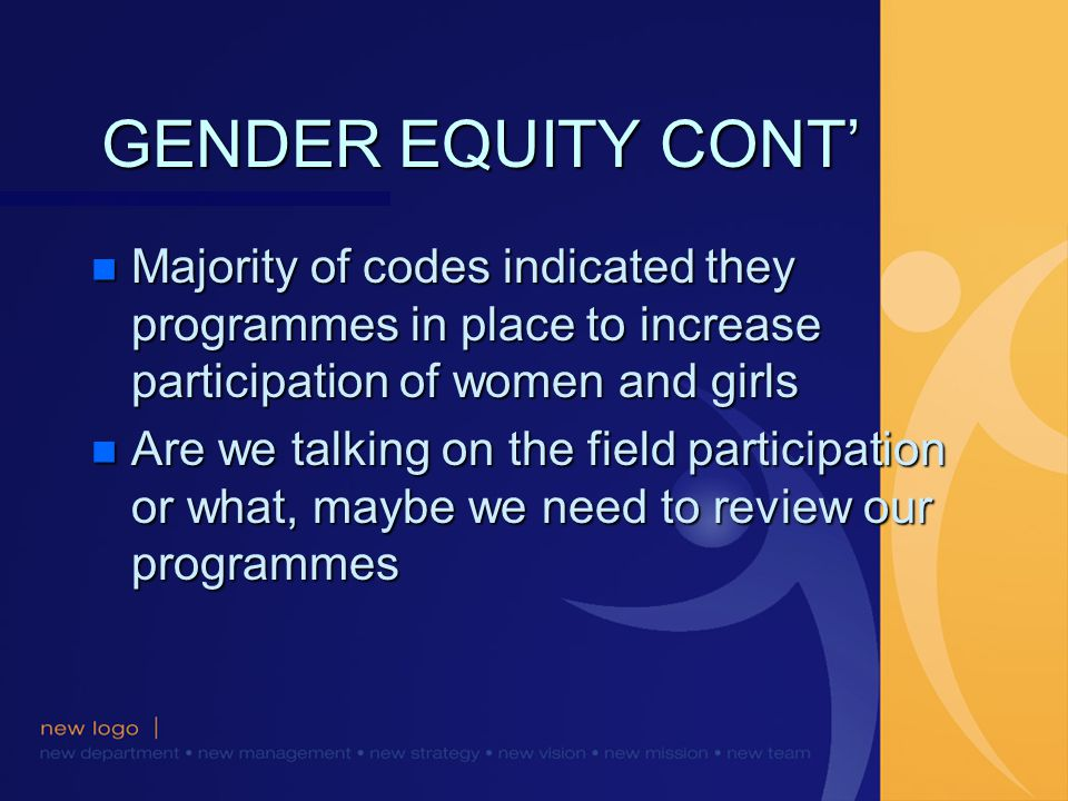 GENDER EQUITY CONT n Majority of codes indicated they programmes in place to increase participation of women and girls n Are we talking on the field participation or what, maybe we need to review our programmes
