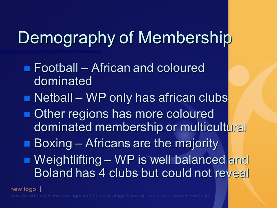 Demography of Membership n Football – African and coloured dominated n Netball – WP only has african clubs n Other regions has more coloured dominated membership or multicultural n Boxing – Africans are the majority n Weightlifting – WP is well balanced and Boland has 4 clubs but could not reveal
