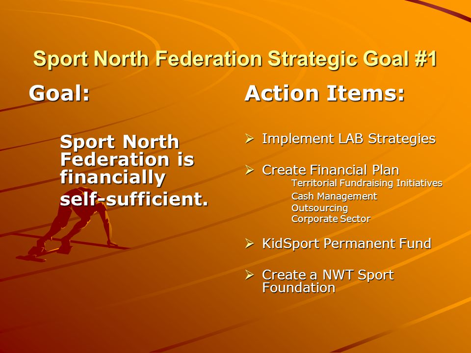 Sport North Federation Strategic Goal #1 Goal: Sport North Federation is financially self-sufficient.