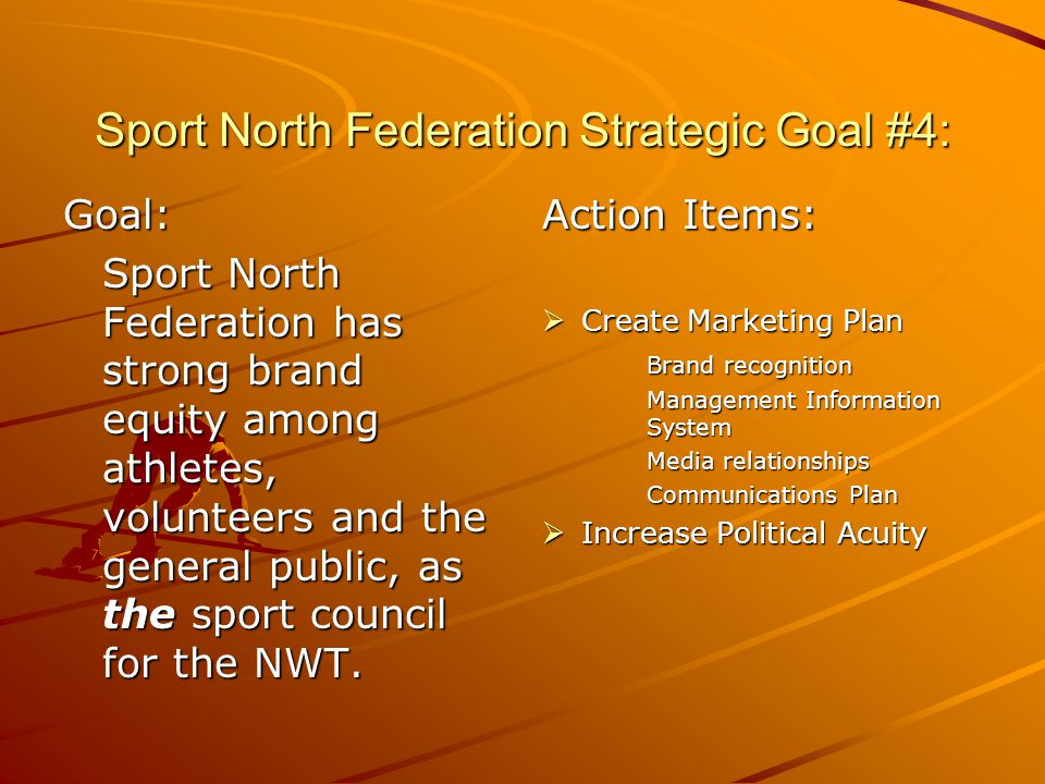 Sport North Federation Strategic Goal #4: Goal: Sport North Federation has strong brand equity among athletes, volunteers and the general public, as the sport council for the NWT.
