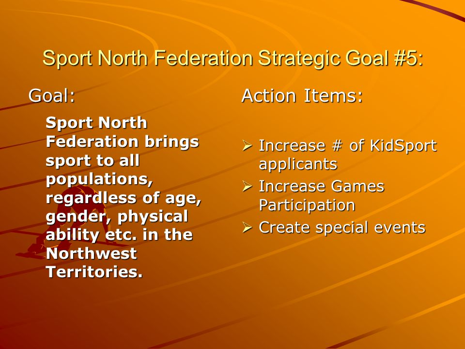 Sport North Federation Strategic Goal #5: Goal: Sport North Federation brings sport to all populations, regardless of age, gender, physical ability etc.