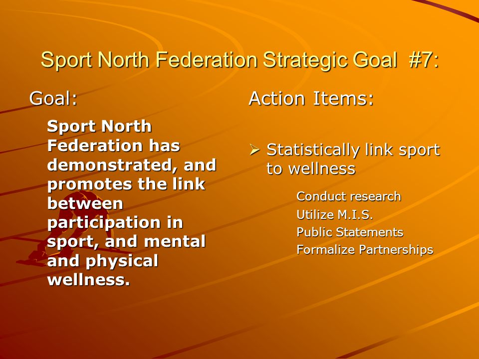 Sport North Federation Strategic Goal #7: Goal: Sport North Federation has demonstrated, and promotes the link between participation in sport, and mental and physical wellness.