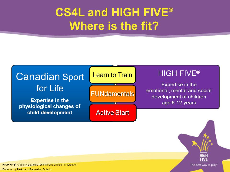HIGH FIVE ® A quality standard for childrens sport and recreation Founded by Parks and Recreation Ontario Contact Us HIGH FIVE ® National LJ Bartle National Manager 1 Concorde Gate, Suite 302 Toronto, ON M3C 3N6 1.888.222.9838 info@HIGHFIVE.org www.HIGHFIVE.org