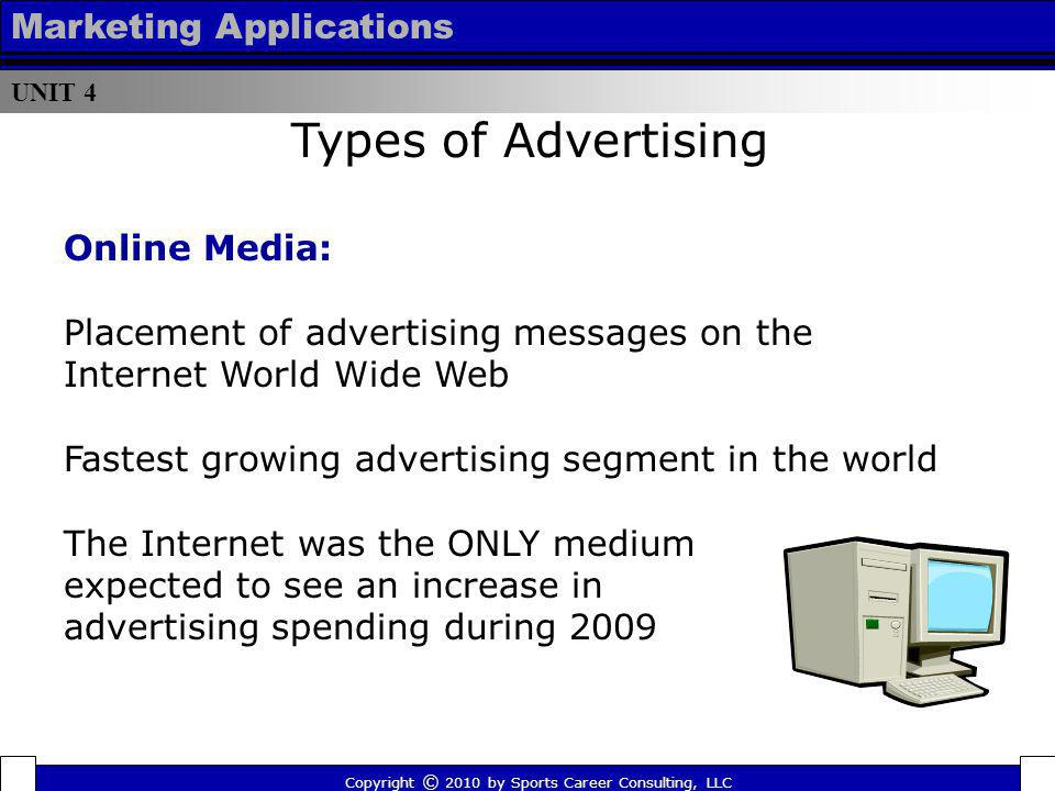 UNIT 4 Marketing Applications Online Media: Placement of advertising messages on the Internet World Wide Web Fastest growing advertising segment in th