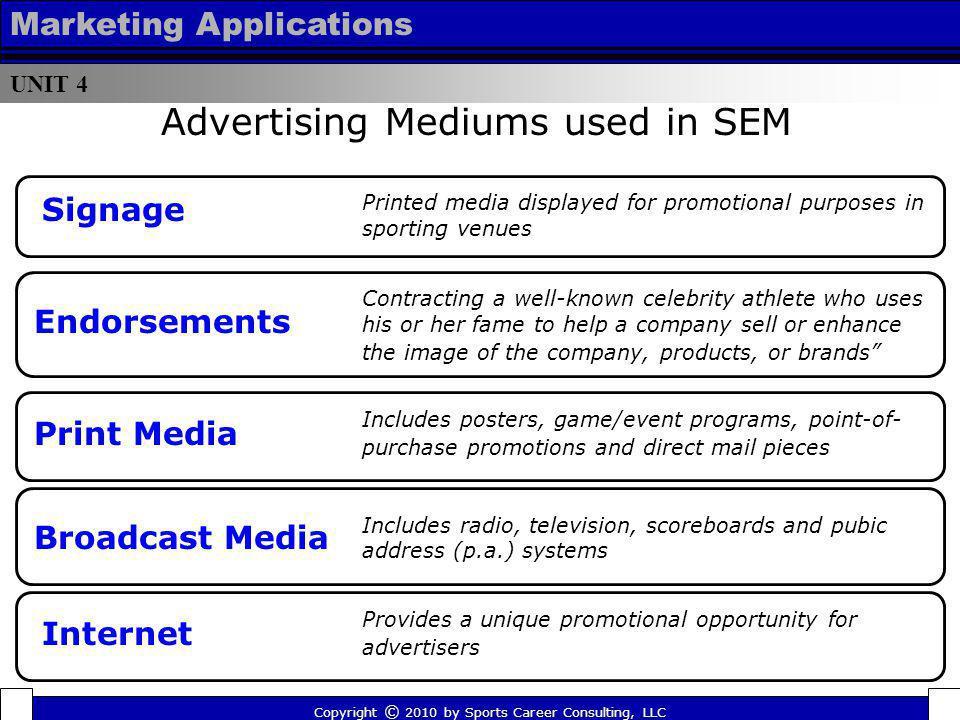 UNIT 4 Marketing Applications Advertising Mediums used in SEM Signage Print Media Broadcast Media Internet Endorsements Printed media displayed for pr