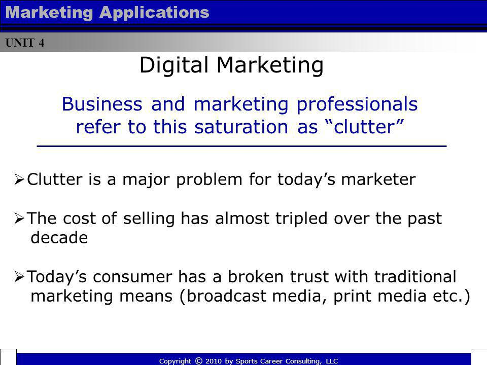UNIT 4 Marketing Applications Business and marketing professionals refer to this saturation as clutter Copyright © 2010 by Sports Career Consulting, L