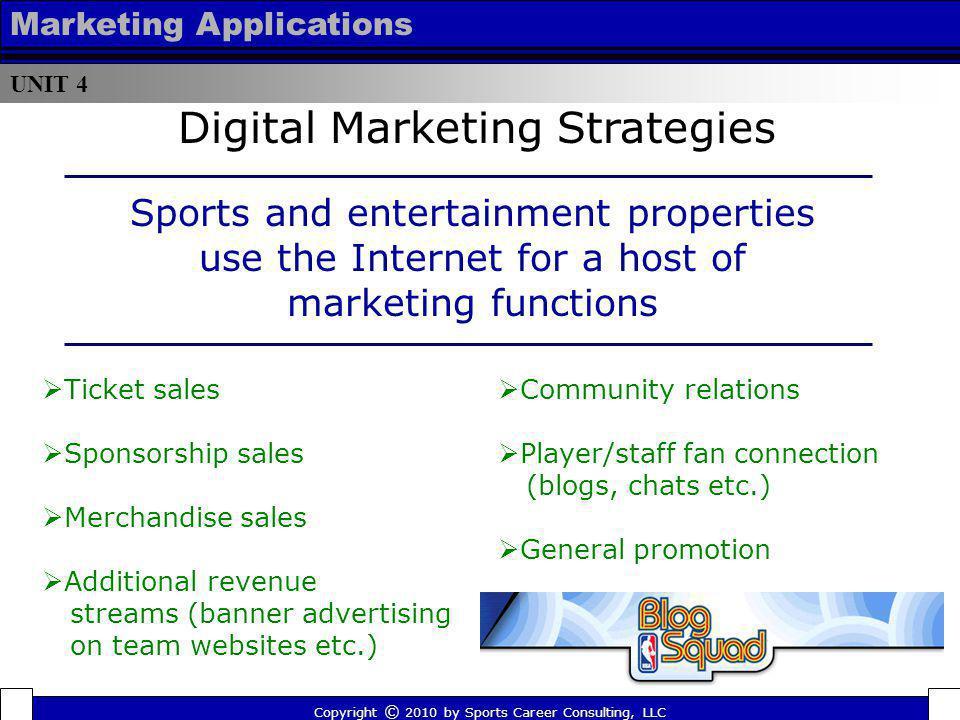 UNIT 4 Marketing Applications Ticket sales Sponsorship sales Merchandise sales Additional revenue streams (banner advertising on team websites etc.) C