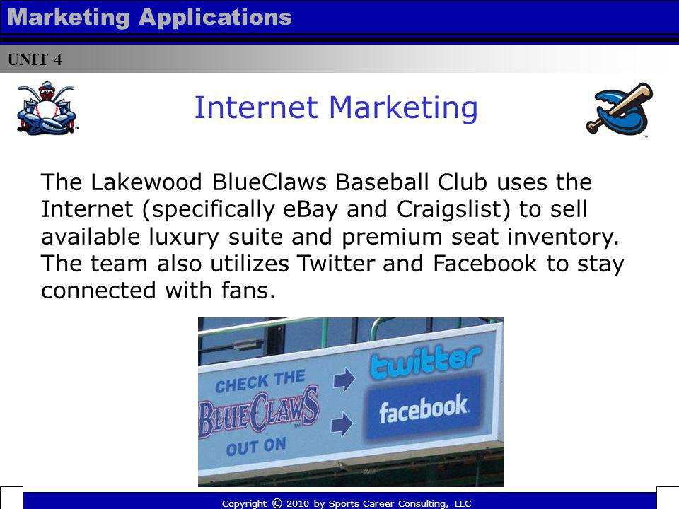 UNIT 4 Marketing Applications Copyright © 2010 by Sports Career Consulting, LLC The Lakewood BlueClaws Baseball Club uses the Internet (specifically e