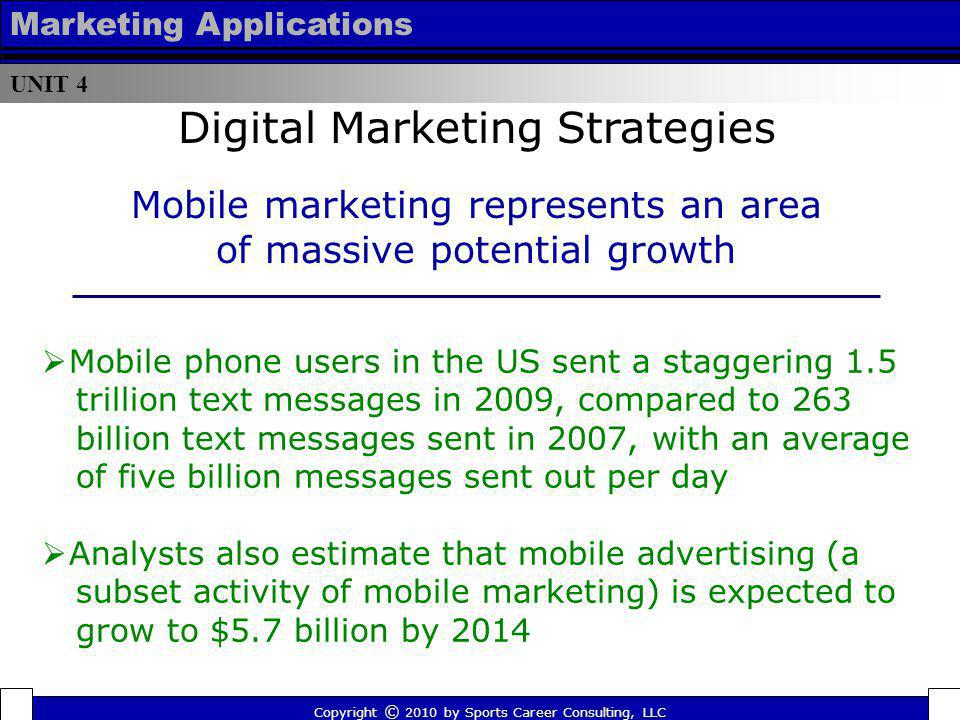 UNIT 4 Marketing Applications Mobile phone users in the US sent a staggering 1.5 trillion text messages in 2009, compared to 263 billion text messages