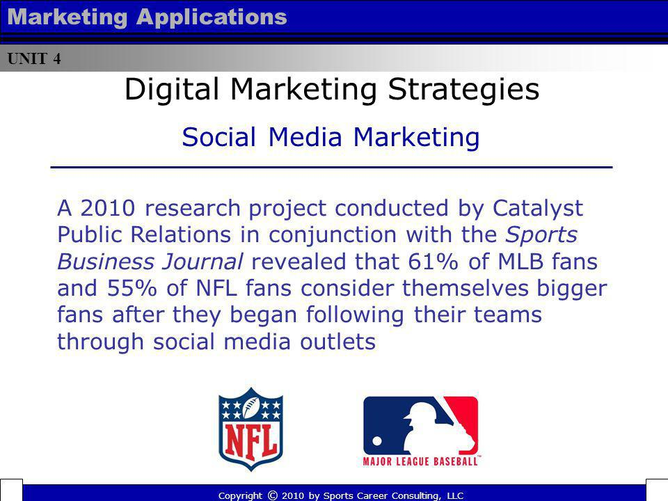 UNIT 4 Marketing Applications A 2010 research project conducted by Catalyst Public Relations in conjunction with the Sports Business Journal revealed