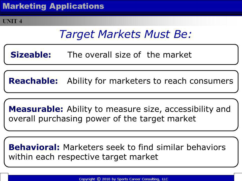 UNIT 4 Marketing Applications Target Markets Must Be: Copyright © 2010 by Sports Career Consulting, LLC Sizeable: The overall size of the market Reach