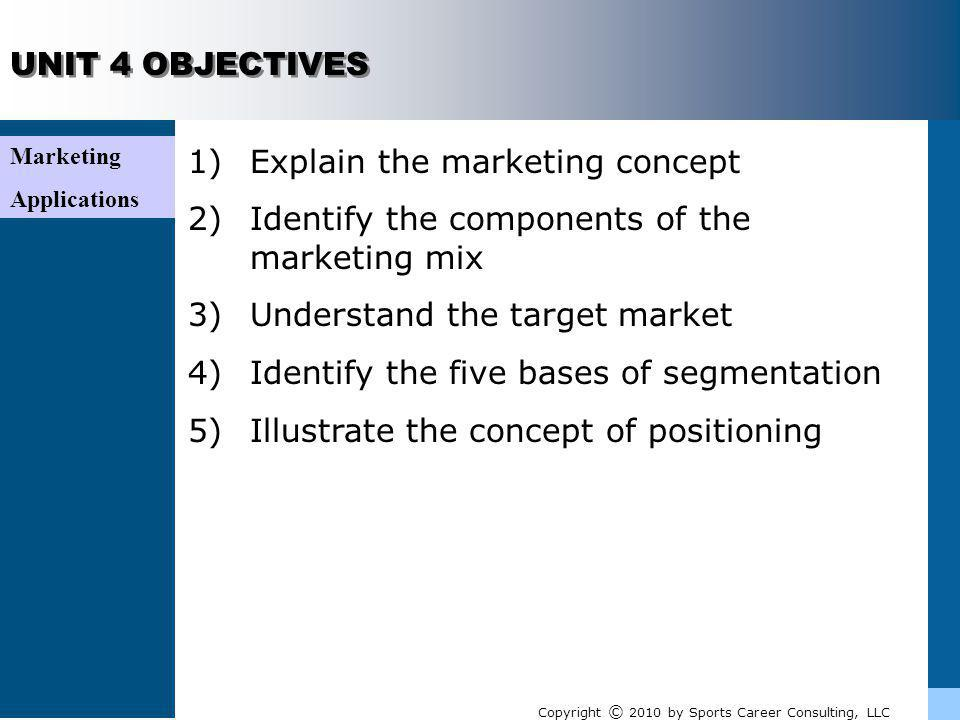 UNIT 4 Marketing Applications Because many segments may be valid in helping marketers make decisions, marketers often choose to use several segments Ultimately, a decision is made based on what best fits the organizations target market Copyright © 2010 by Sports Career Consulting, LLC Selecting multiple segments