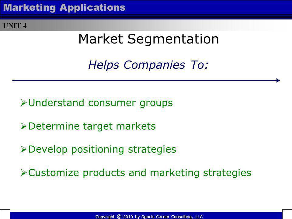 UNIT 4 Marketing Applications Market Segmentation Understand consumer groups Determine target markets Develop positioning strategies Customize product