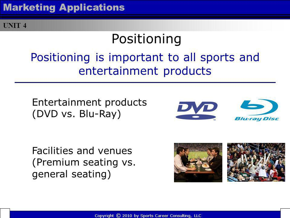 UNIT 4 Marketing Applications Positioning Copyright © 2010 by Sports Career Consulting, LLC Positioning is important to all sports and entertainment p