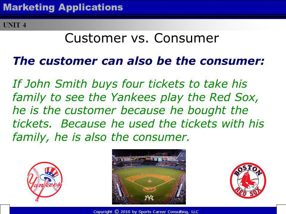 Copyright © 2010 by Sports Career Consulting, LLC UNIT 4 Marketing Applications The customer can also be the consumer: If John Smith buys four tickets