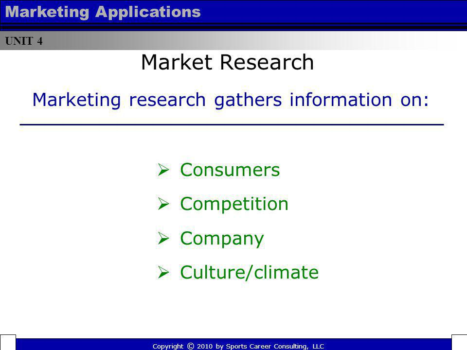 UNIT 4 Marketing Applications Consumers Competition Company Culture/climate Market Research Copyright © 2010 by Sports Career Consulting, LLC Marketin