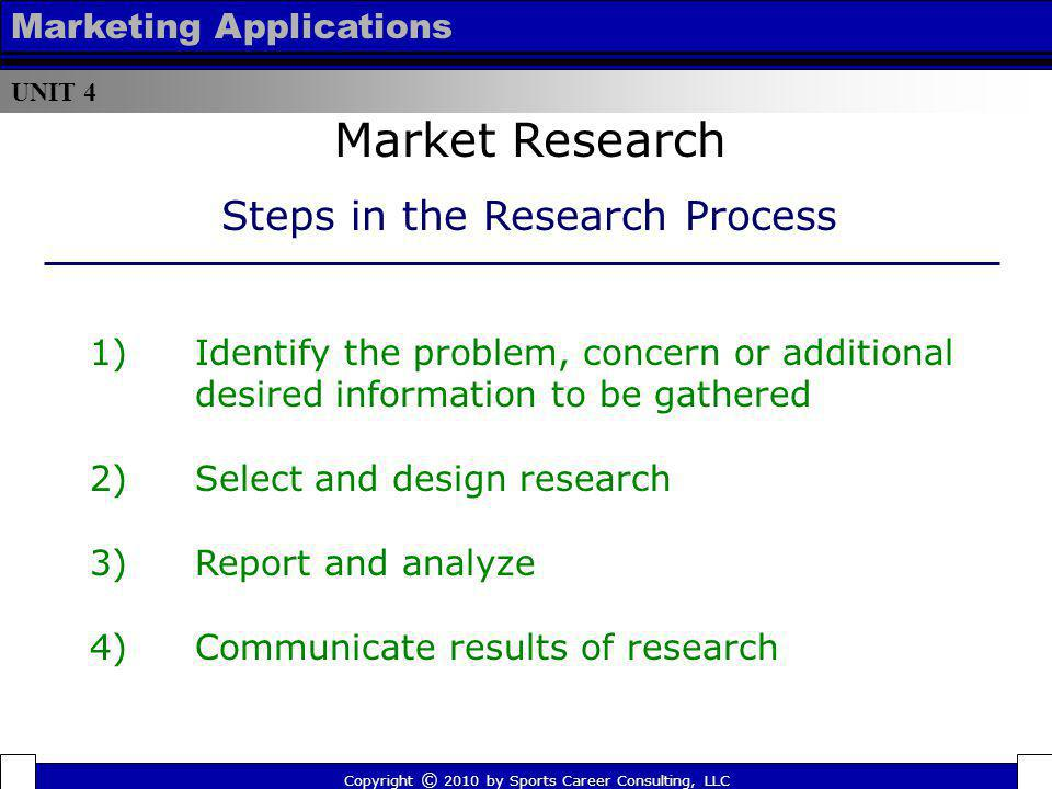UNIT 4 Marketing Applications Market Research Copyright © 2010 by Sports Career Consulting, LLC Steps in the Research Process 1)Identify the problem,