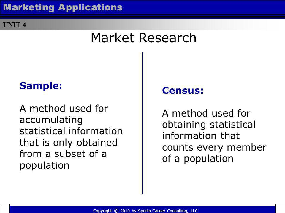 UNIT 4 Marketing Applications Market Research Census: A method used for obtaining statistical information that counts every member of a population Cop
