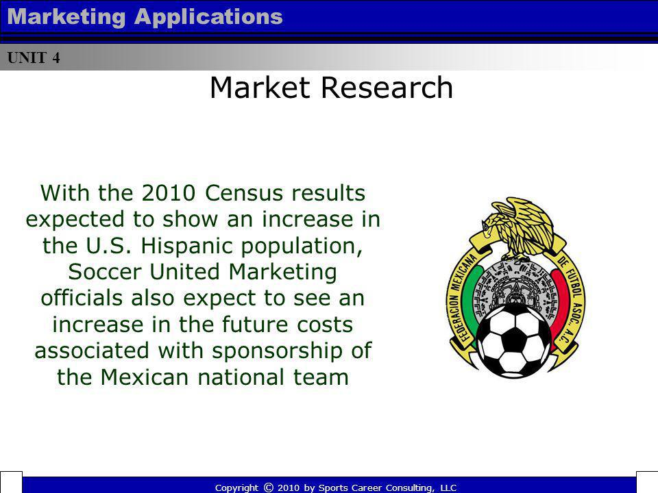 UNIT 4 Marketing Applications Copyright © 2010 by Sports Career Consulting, LLC Market Research With the 2010 Census results expected to show an incre
