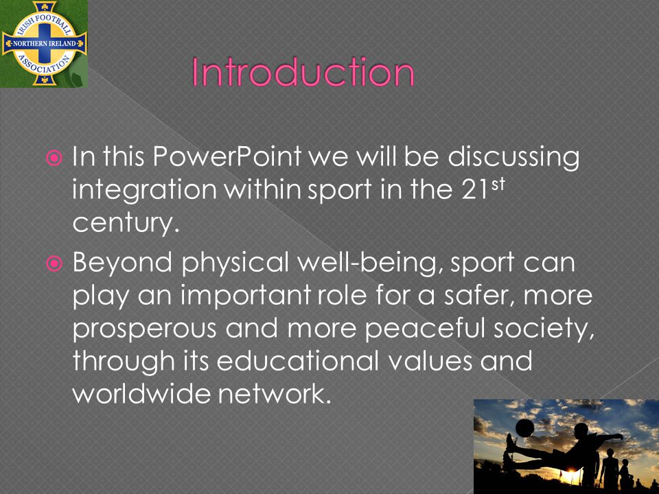 In this PowerPoint we will be discussing integration within sport in the 21 st century.