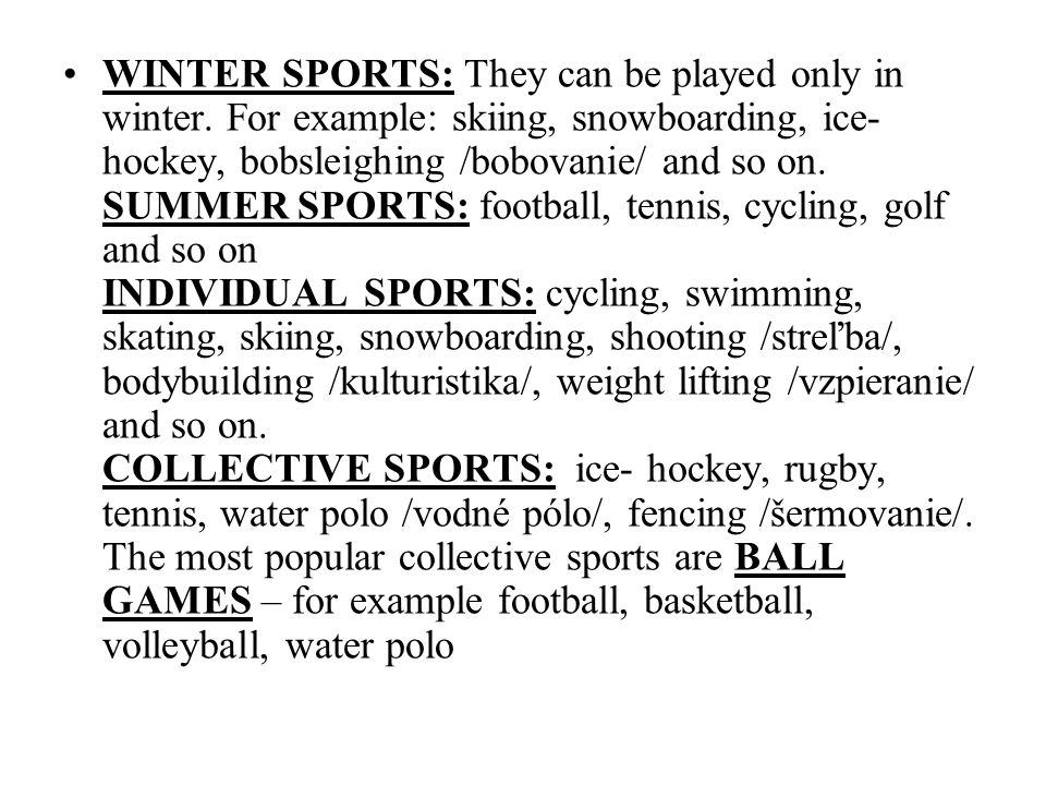 THE REASONS WHY PEOPLE SPORT