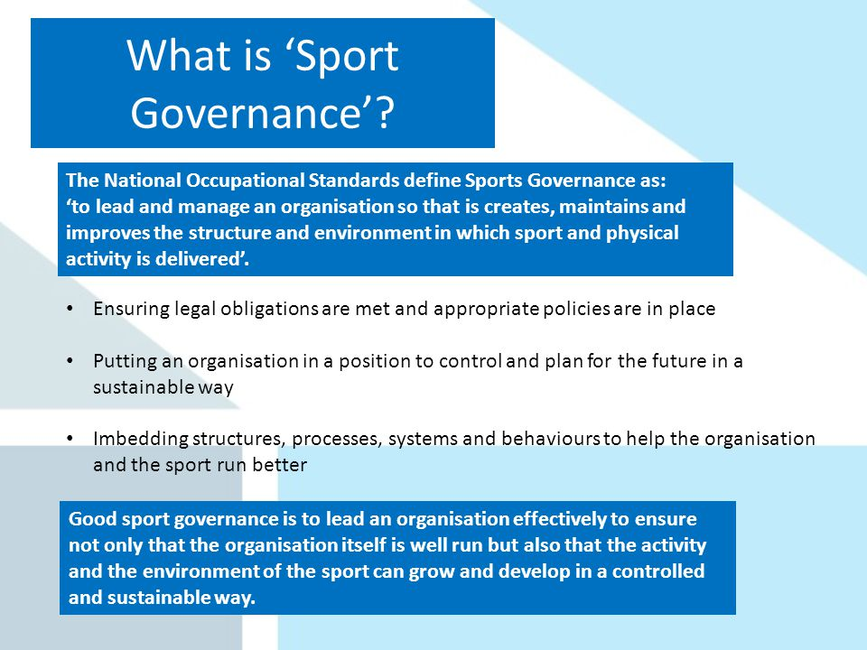 What is Sport Governance.