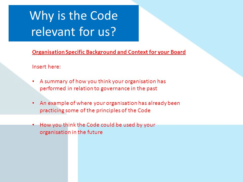 Why is the Code relevant for us.