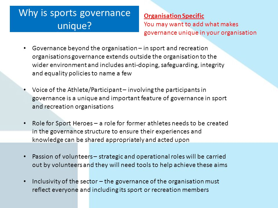 Why is sports governance unique.
