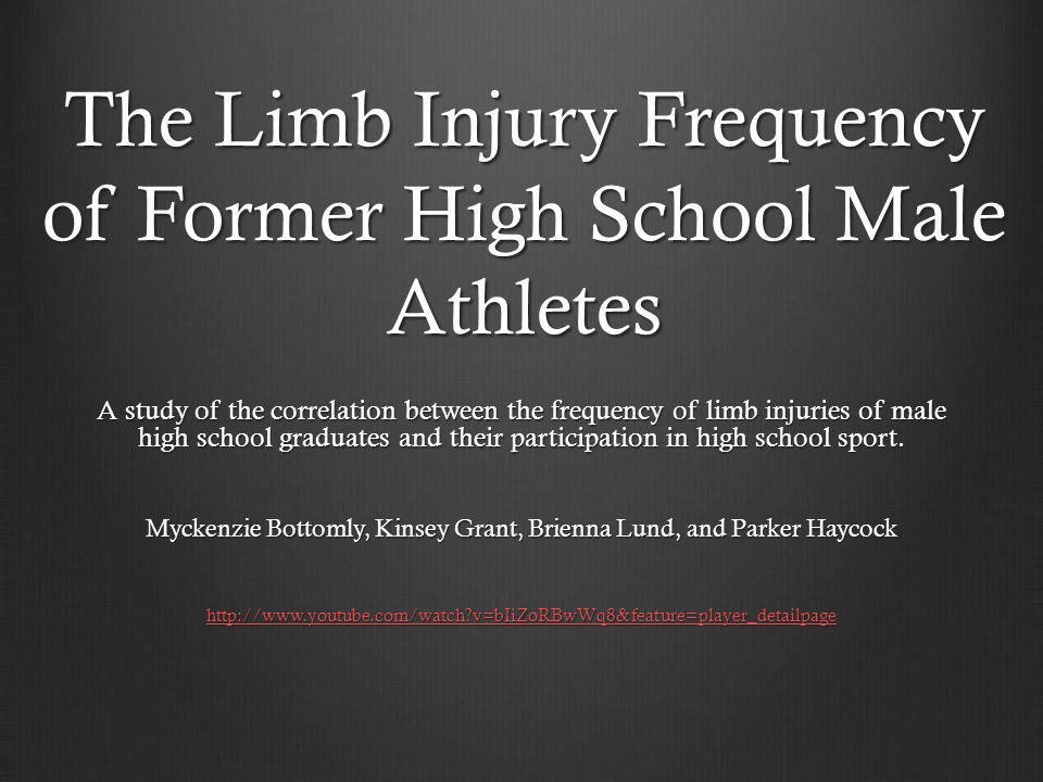 The Limb Injury Frequency of Former High School Male Athletes A study of the correlation between the frequency of limb injuries of male high school graduates and their participation in high school sport.