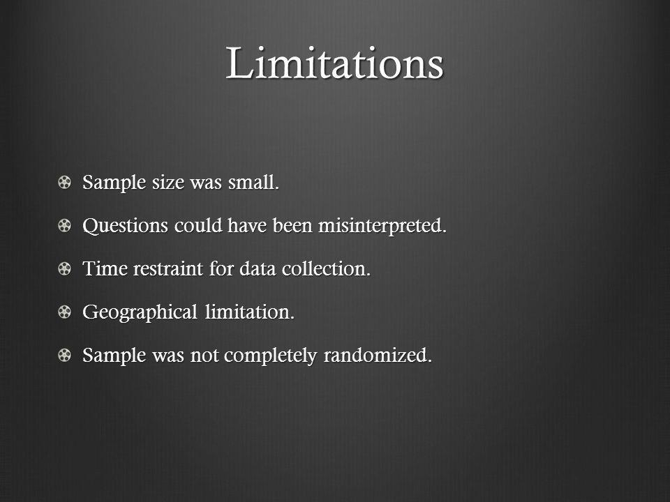 Limitations Sample size was small. Questions could have been misinterpreted.
