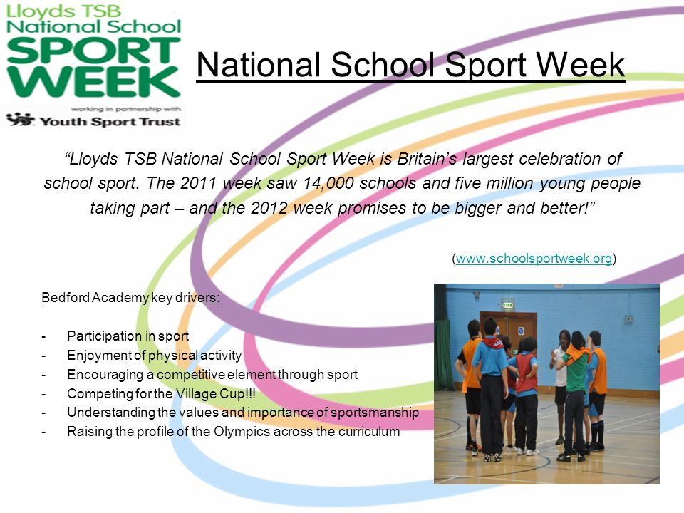 National School Sport Week Lloyds TSB National School Sport Week is Britains largest celebration of school sport.