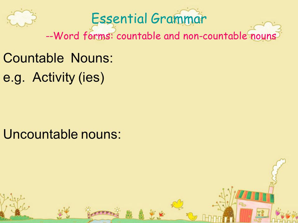 Use of plurals & articles Examples: A good reason ( countable ) for playing sport is the ability to control your weight.