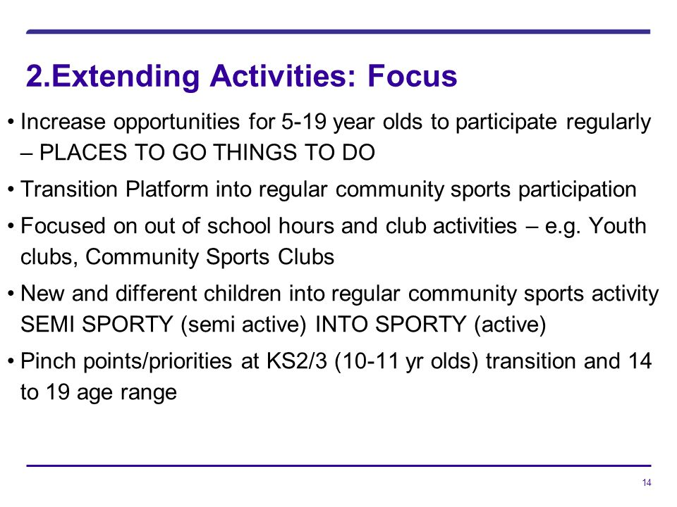 14 2.Extending Activities: Focus Increase opportunities for 5-19 year olds to participate regularly – PLACES TO GO THINGS TO DO Transition Platform into regular community sports participation Focused on out of school hours and club activities – e.g.