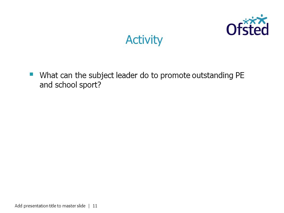 Activity What can the subject leader do to promote outstanding PE and school sport? Add presentation title to master slide   11