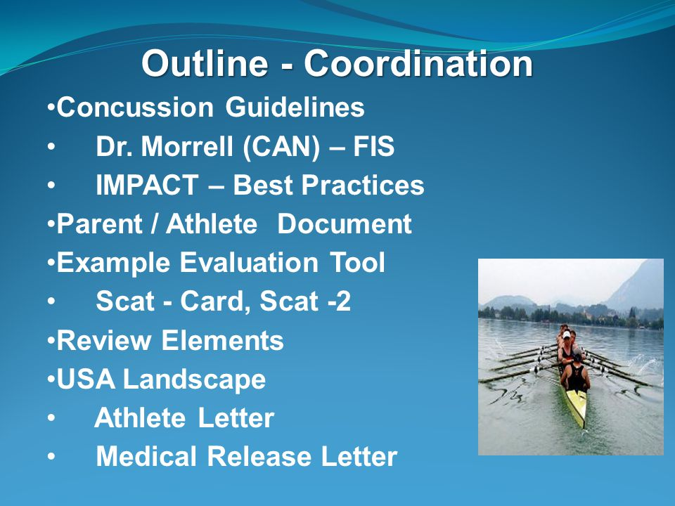 Outline - Coordination Concussion Guidelines Dr.