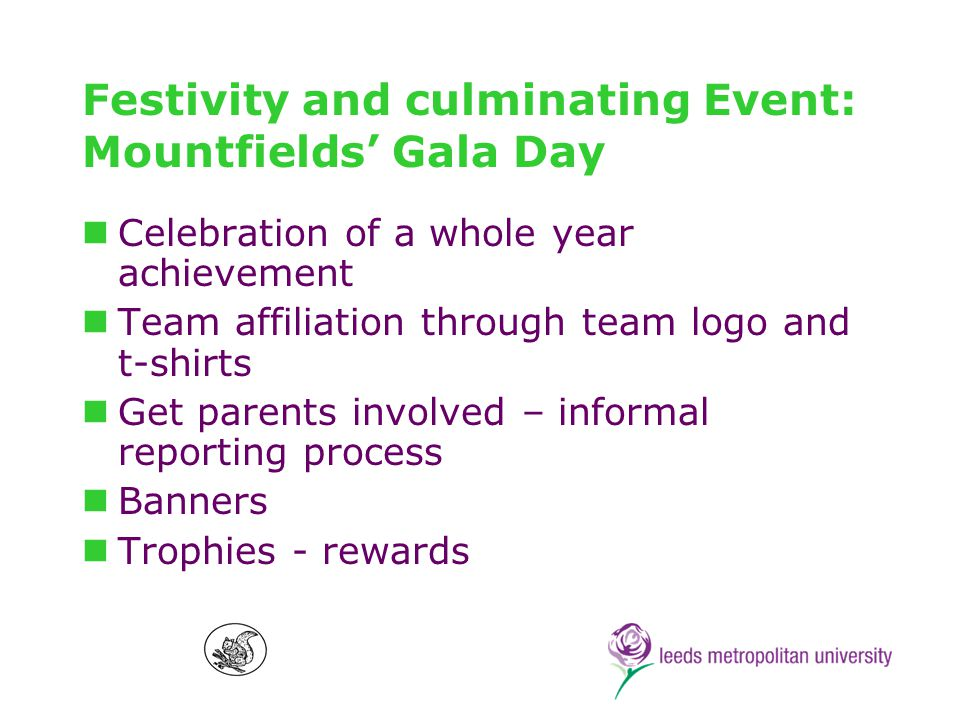 Festivity and culminating Event: Mountfields Gala Day Celebration of a whole year achievement Team affiliation through team logo and t-shirts Get parents involved – informal reporting process Banners Trophies - rewards
