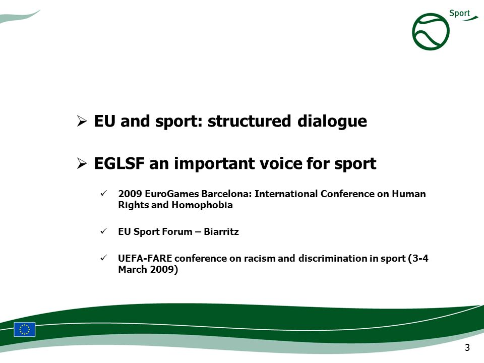 3 EU and sport: structured dialogue EGLSF an important voice for sport 2009 EuroGames Barcelona: International Conference on Human Rights and Homophobia EU Sport Forum – Biarritz UEFA-FARE conference on racism and discrimination in sport (3-4 March 2009)