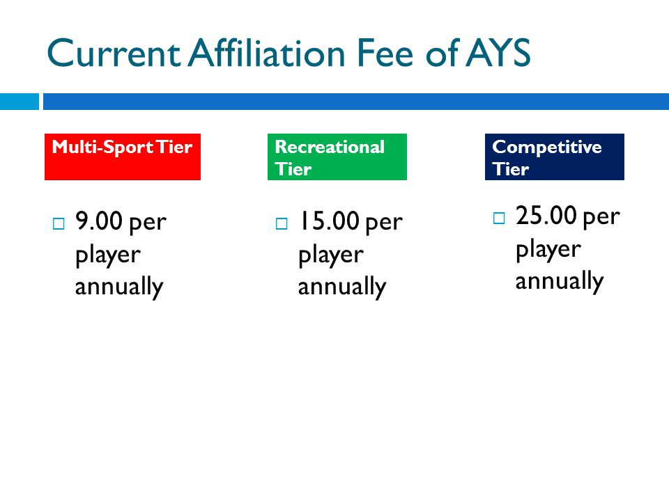 Current Affiliation Fee of AYS per player annually per player annually Recreational Tier Competitive Tier Multi-Sport Tier 9.00 per player annually