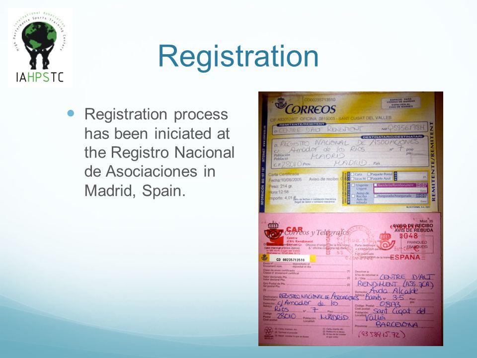 Registration Registration process has been iniciated at the Registro Nacional de Asociaciones in Madrid, Spain.