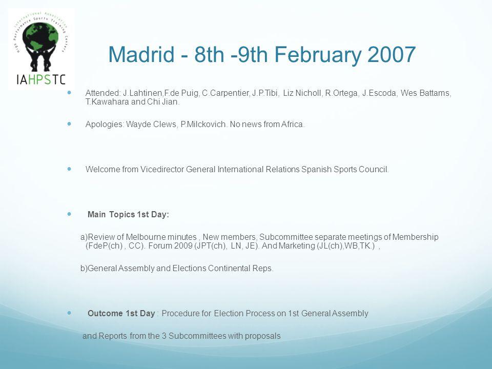 Madrid - 8th -9th February 2007 Attended: J.Lahtinen,F.de Puig, C.Carpentier, J.P.Tibi, Liz Nicholl, R.Ortega, J.Escoda, Wes Battams, T.Kawahara and C